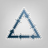 Plastic recycling symbol PVC 3  Plastic recycling code PVC 3 Vector Blue icon with outline for cutting out at gray background