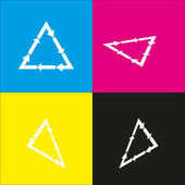 Plastic recycling symbol PVC 3  Plastic recycling code PVC 3 Vector White icon with isometric projections on cyan magenta yellow and black backgrounds