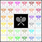 Tennis racket sign Vector Felt-pen 33 colorful icons at white and black backgrounds Colorfull