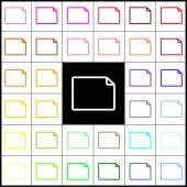 Horizontal document sign illustration Vector Felt-pen 33 colorful icons at white and black backgrounds Colorfull