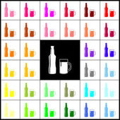 Beer bottle sign Vector Felt-pen 33 colorful icons at white and black backgrounds Colorfull