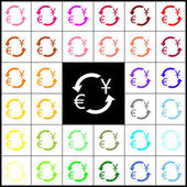 Currency exchange sign Dollar and Euro Vector Felt-pen 33 colorful icons at white and black backgrounds Colorfull