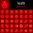 Health. Icon set 1. White line icon on red gradien...