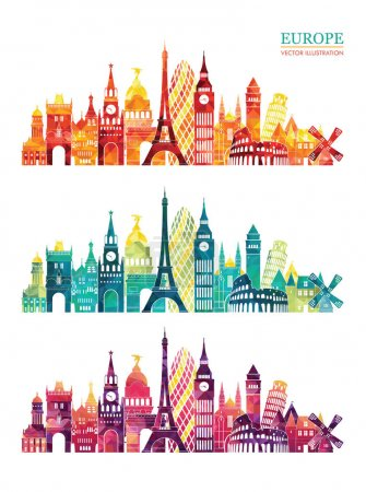 Illustration for Set of travel design templates with europe landmarks, stylish graphics design, vector illustration - Royalty Free Image