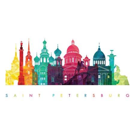 Illustration pour Gabarit design voyage avec silhouette de la ville SAINT PETERSBURG, illustration vectorielle - image libre de droit