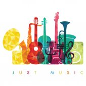 Musical instruments on white