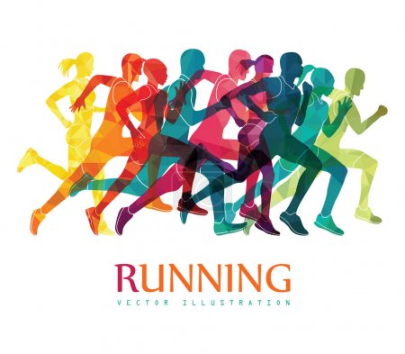 Group of running people