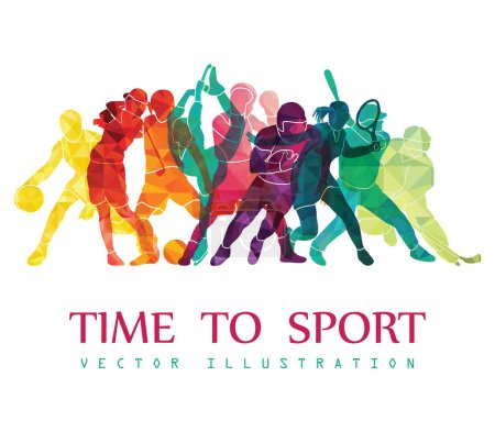Illustration for Group of people engaging in different sports with time to sport inscription on white background, vector illustration - Royalty Free Image
