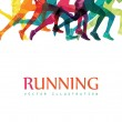 Group of running people with running inscription isolated on white background, vector illustration