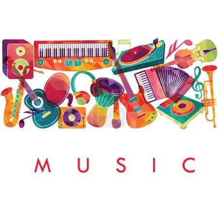Illustration pour Instruments de musique isolés sur fond blanc. Illustration vectorielle - image libre de droit
