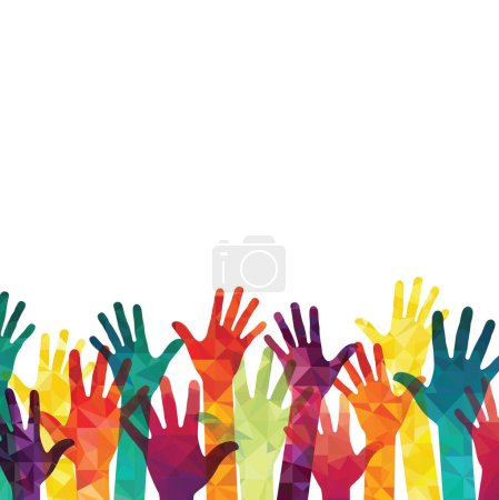 Illustration for Colorful up hands silhouettes background - Royalty Free Image