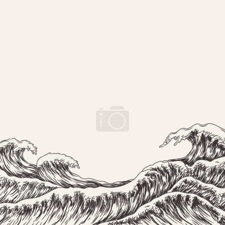 Illustration for Big sea waves, vector illustration - Royalty Free Image