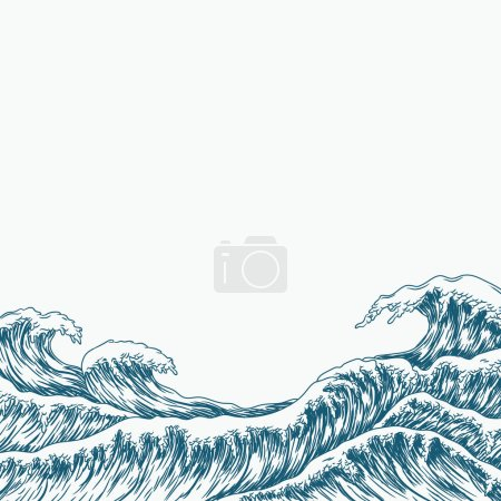 Illustration for Big blue sea waves, vector illustration - Royalty Free Image