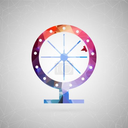 Illustration for Abstract creative concept vector icon of fortune wheel. For web and mobile content isolated on background, unusual template design, flat silhouette object and social media image, triangle art origami. - Royalty Free Image