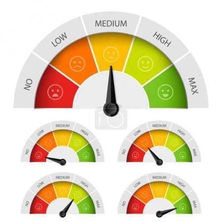 Illustration pour Illustration vectorielle créative de l'évaluation du compteur de satisfaction client. Différentes émotions art design du rouge au vert. Concept abstrait élément graphique du tachymètre, compteur de vitesse, indicateurs, score . - image libre de droit