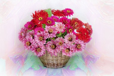 Bouquet of pink flowers in a basket on a Colored background