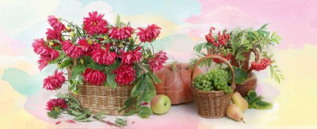Photo for Still life with flowers ,cucurbits , grapes , apples . - Royalty Free Image