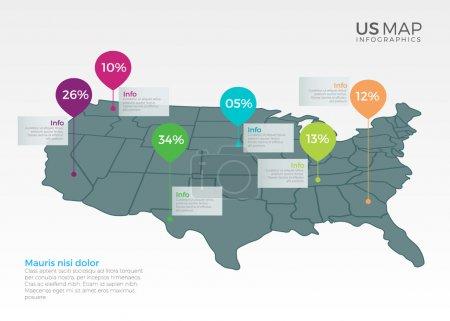 Illustration for US Map infographics element template illustration design for multipurpose use - Royalty Free Image