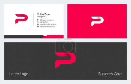 Illustration for Corporate Minimal Business Card with Modern Abstract Alphabet logo in red - Royalty Free Image