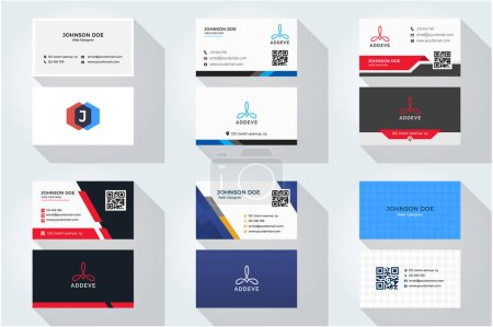 Illustration for Set of 6 Corporate business card  with abstract logo - Royalty Free Image