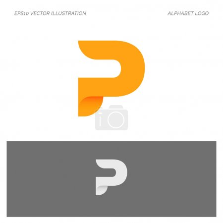 P Alphabet Abstract Letter vector logo icon illustration template in white and black background