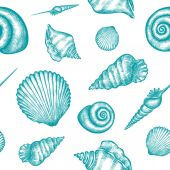 Vector seamless pattern with hand drawn seashells  Marine background in engraved style Hand drawn underwater vector illustration with seashells
