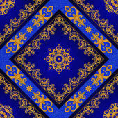 Pattern, seamless. Golden crystals, weaving, arabesques. Gold arabesque, oriental style, abstract figure, tiles, mosaics. Sparkling decorative square frame. Dark blue background mural.