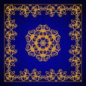 Gold arabesque, oriental style, abstract figure, tiles, mosaics. Sparkling decorative square frame. Dark blue velvet textured background.