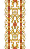 Vertical floral border. Pattern, seamless. Gold lace, weaving, Indian, Asian decoration, decorative shiny embroidery, arabesque, abstract shapes.