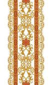 Vertikale floral Grenze. Nahtlose Muster. Goldene Spitze, Weben, indische, asiatische Dekoration, dekorative glänzende Stickereien, Arabesken, abstrakte Formen