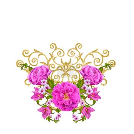 Golden textured curls. Oriental style arabesques. Brilliant lace, stylized flowers. Openwork weaving delicate, golden background, composition, garland of red, Pink and orange roses