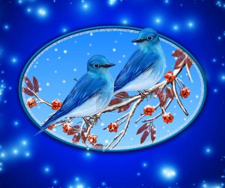 Christmas greeting card. Two bright bird bullfinch bird sitting on a branch, snow, red berries.