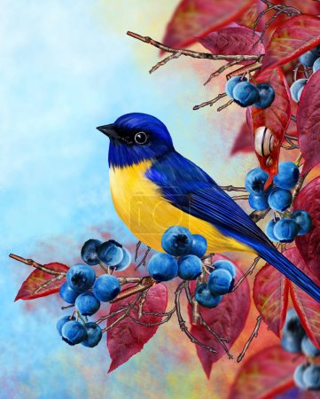 Photo for A small bird tits a branch, blue berries, red leaves. Bright elegant autumnal background. - Royalty Free Image