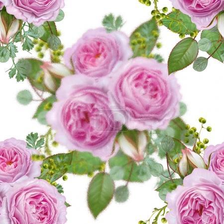 Foto de Patrón transparente floral. Arreglos florales, bouquet de bayas de delicada hermosas rosas rosadas, verde, hojas. - Imagen libre de derechos