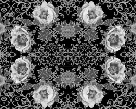 Photo for Seamless pattern. Brilliant lace, stylized flowers. Openwork weaving delicate, Paisley. Monochrome tracery, openwork curls. - Royalty Free Image