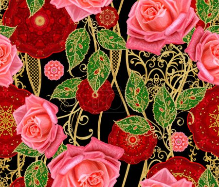 Photo pour Modèle sans couture. Cercles rouges décorés de tissage d'or, dentelle, lignes courbes. Fleurs dorées brillantes stylisées sur tiges hautes, rose rouge vif, éléments de décor paisley . - image libre de droit