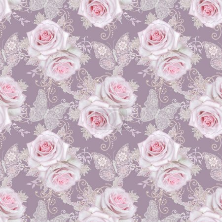 Photo for Seamless pattern. Decorative decoration, paisley element, delicate textured silver leaves made of thin lace and pearls, thread of beads, bud pastel pink rose, jeweler's butterfly Openwork weaving - Royalty Free Image