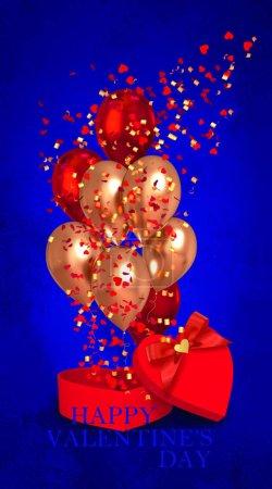 Photo pour Décoration romantique Saint-Valentin, boîte cadeau ouverte en forme de coeur décorée d'un arc, boules volantes de couleur gel, confettis, tinelle d'or, rendu 3D, techniques mixtes - image libre de droit