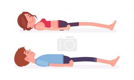Illustration pour Jeune homme et femme yogi en vêtements de sport pratiquant le yoga, partenaires faisant corps mort, pose Savasana, exercice du corps, pratique de méditation yogique sans stress. Illustration vectorielle de dessin animé de style plat - image libre de droit