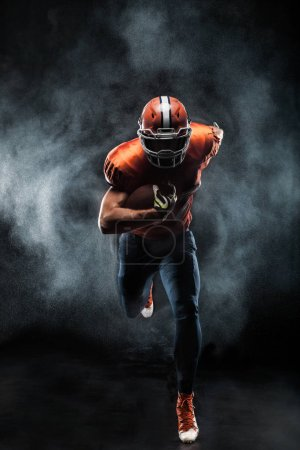 Photo for American football sportsman player running in action - Royalty Free Image