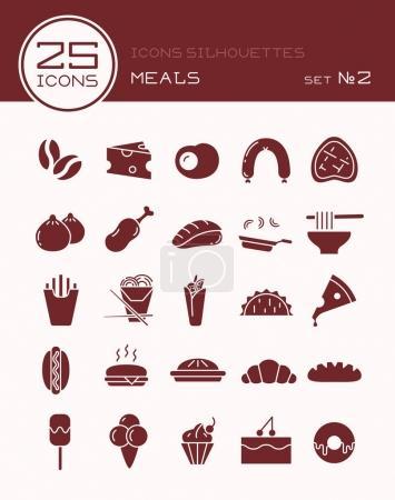 Illustration pour Icônes silhouettes repas ensemble 2 - image libre de droit