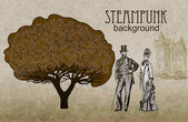Steampunk style Template steampunk design for card Frame steampunk background The stylized tree Man and woman in historical costumes