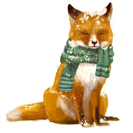 Photo pour Mignon renard endormi avec écharpe - image libre de droit