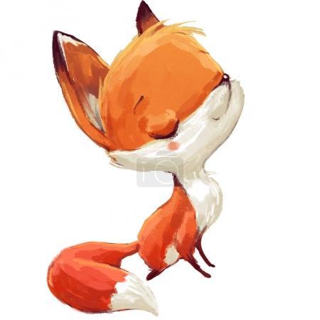 Photo pour Cute cartoon aquarelle renard sur fond blanc - image libre de droit