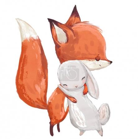 Photo pour Jolie aquarelle renard et lièvre sur fond blanc - image libre de droit