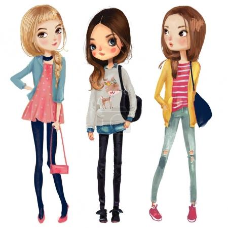 Photo for Cute fashion cartoon girls in sketchy style - Royalty Free Image