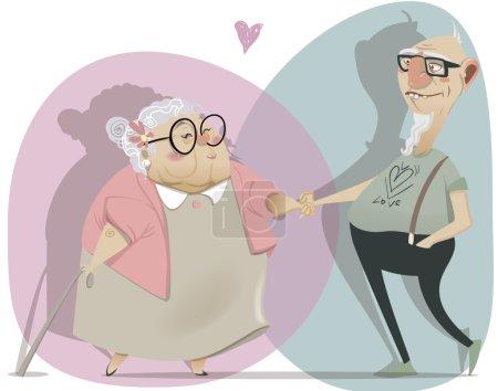 altes Cartoon-Paar verliebt
