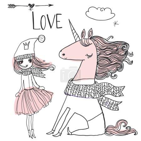 doodle princess with unicorn
