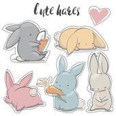 set with cartoon hares
