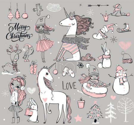 Illustration for Doodle winter hand drawn princess with unicorn - Royalty Free Image